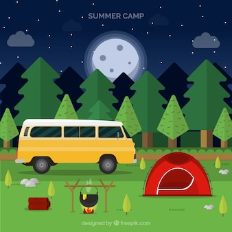 Summer camp background with van and campfire
