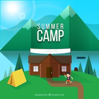 Летний лагерь с деревянным домом и тетнем
