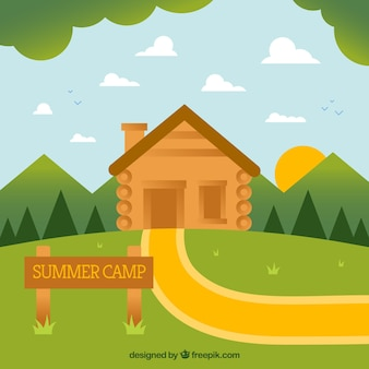 Summer camp background with wooden house