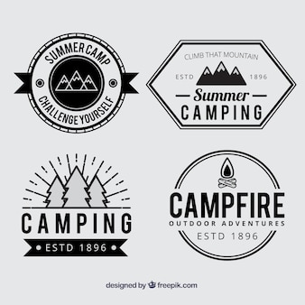 Summer camp badges in black and white