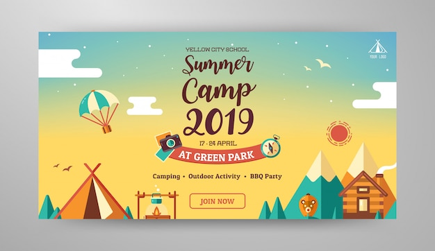 Summer camp banner layout