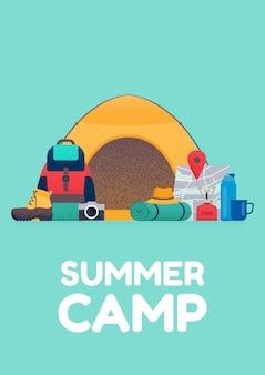 Баннер летнего лагеря. векторная иллюстрация