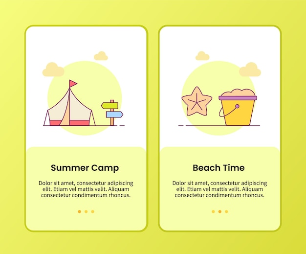 Summer camp beach time campaign for onboarding mobile apps application template