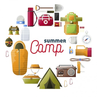 Summer camp camping tools composition
