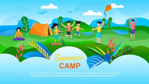 Summer camp for children advertising banner.