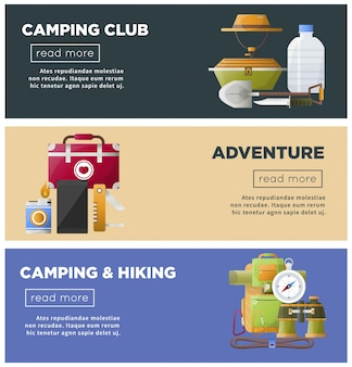Summer camp club vector camping web banners template