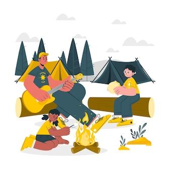 Иллюстрация концепции летнего лагеря