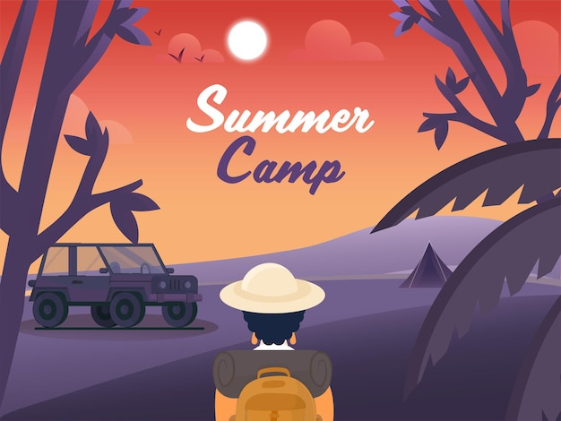Summer camp concept with back view of female tourist on sunset or sunrise nature background.