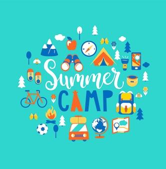 Концепция летнего лагеря с нарисованными от руки надписями, кемпинг и путешествие в отпуск с большим количеством туристического снаряжения, такого как палатка, рюкзак и другие. плакат в плоском стиле, векторные иллюстрации.