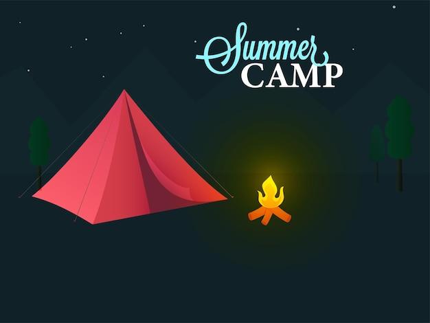 Концепция летнего лагеря с красной палаткой, костром и деревом на темно-бирюзовом фоне.