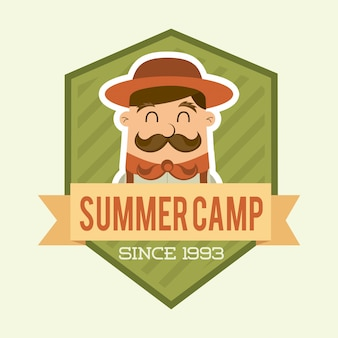 Summer camp design over beige backgroun vector illustration