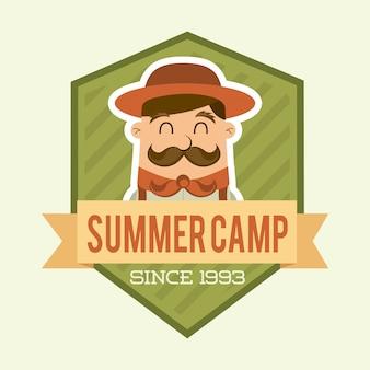 夏キャンプデザインベージュ背景ベクトルイラスト