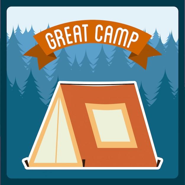 夏のキャンプデザイン青い背景ベクトルイラスト