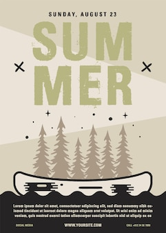 여름 캠프 전단지 a4 형식. 숲, 카약 및 텍스트와 함께 카누 모험 포스터 그래픽 디자인.