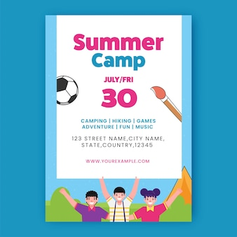 Summer camp flyer design with cheerful children and venue details in white and blue color.
