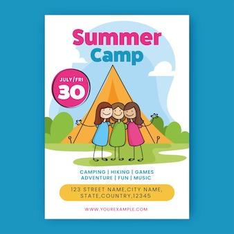 쾌활한 소녀와 장소 세부 정보 여름 캠프 전단지 또는 템플릿 디자인.