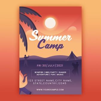 장소 세부 정보가 있는 여름 캠프 전단지 또는 템플릿 디자인.