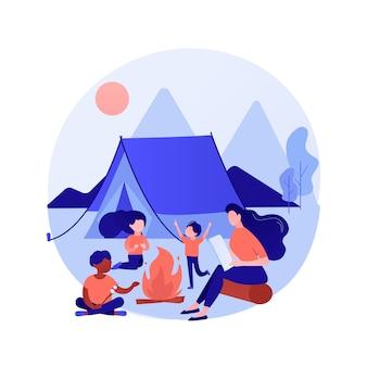 Летний лагерь для детей абстрактная концепция иллюстрации