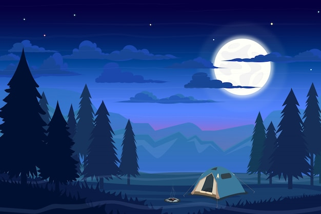Summer camp in forest with tent, campfire and moon