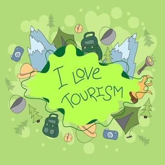 Summer camp hand doodles elements and symbols background. vector hand drawn sketchy illustration