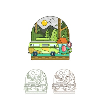 Summer camp holiday illustration