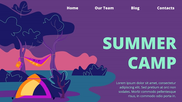 Summer camp horizontal banner, tent, hammock and backpack on deep forest landscape