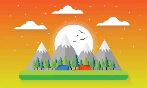 サマーキャンプ、赤と青のテントがある風景、キャンプファイヤー、森と山々