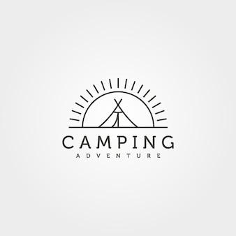 サマーキャンプラインアートロゴベクトルイラストデザイン、テントと日没の最小限のロゴデザイン