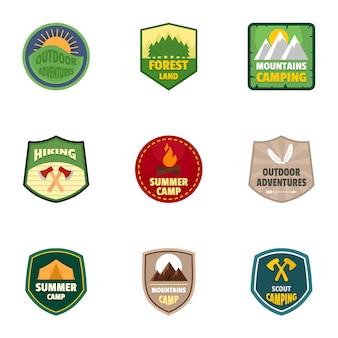 Summer camp logo emblem set, flat style