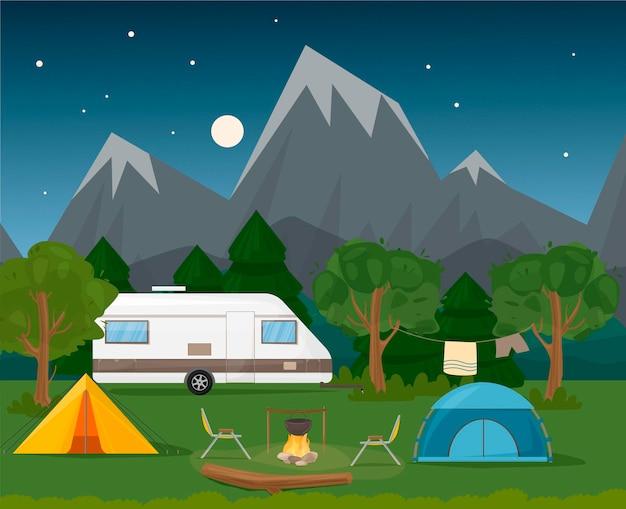 여름 캠프 . 캠핑카 캐러밴 캠핑카는 텐트, 통나무, 보일러, 테이블이 있는 불 옆에 있습니다. 호수와 산 풍경입니다. 여름 휴가, 캠핑, 여행, 여행, 하이킹, 벡터 만화 삽화.