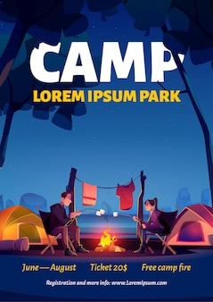 Summer camp in nature park poster