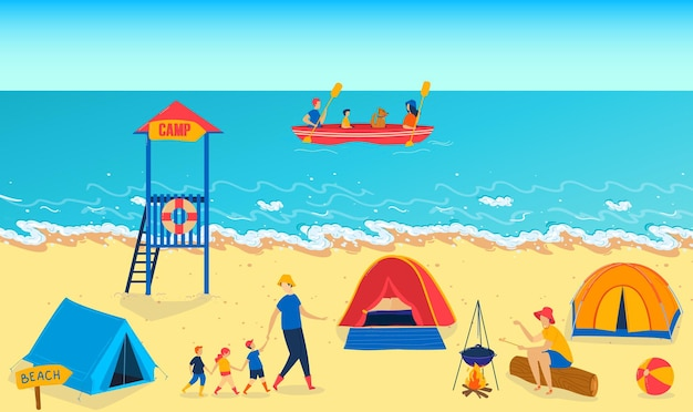 Summer camp near ocean vector illustration girl boy children character follow man father at sea beach child activity at nature