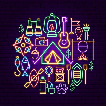 Summer camp neon concept. vector illustration of outdoor promotion.