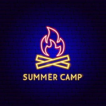 Summer camp neon label. vector illustration of fire promotion.