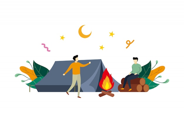 Summer camp, outdoor camping activity flat illustration with small people