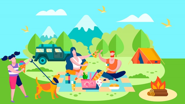 Summer camp and picnic in forest cartoon