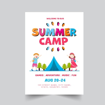 Summer camp poster or template design with event details in white color.