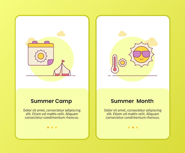 Summer camp summer month campaign for onboarding mobile apps template
