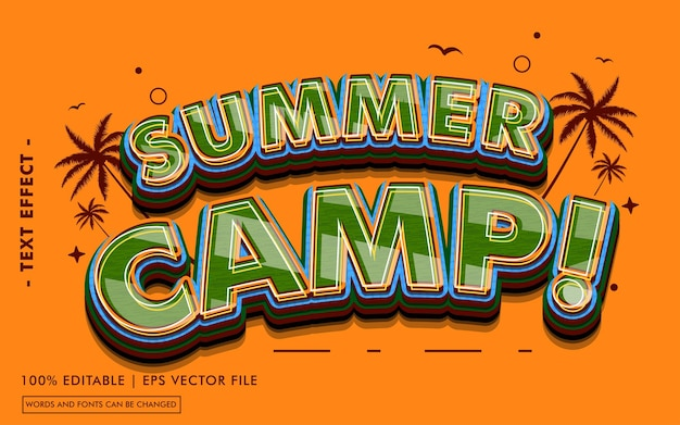 Summer camp! text effect style