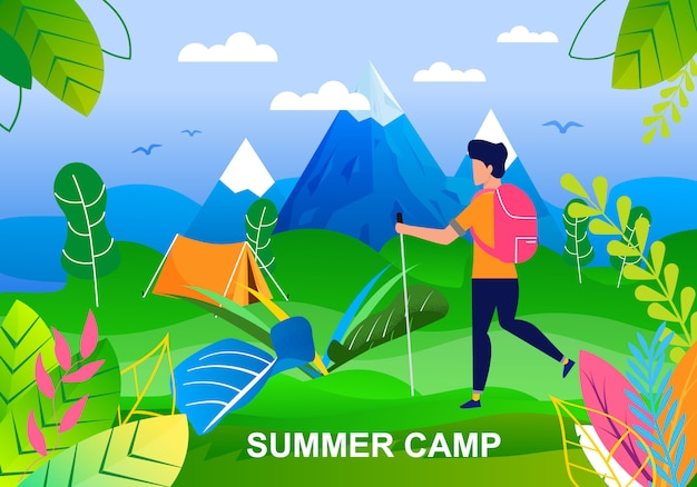 Summer camp in valley at foot of mountains