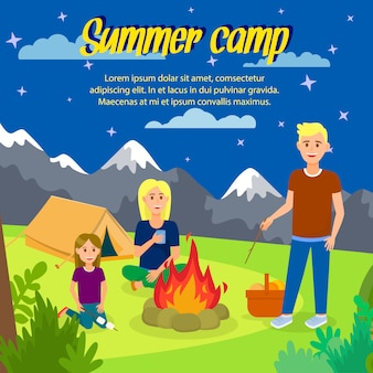 Summer camp vector square banner with copyspace.