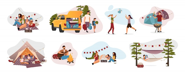 Summer camp visitors flat illustrations set. holidaymakers isolated cartoon characters. travelers, hikers resting in tent, hammock with campfire. summertime relax, recreation, countryside trip