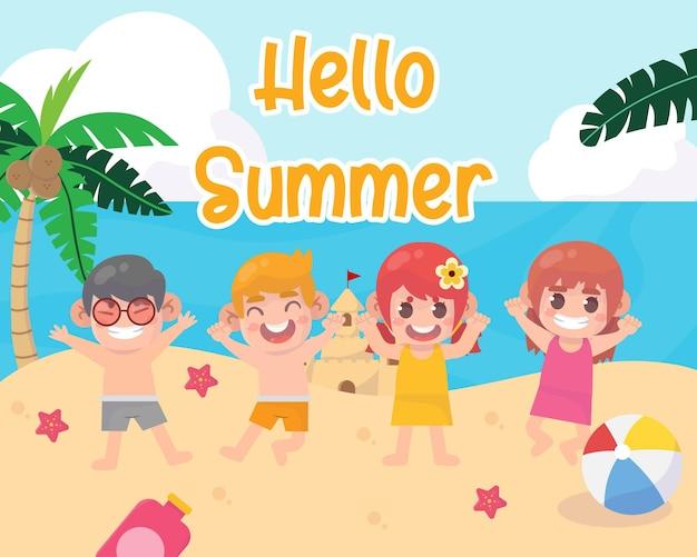해변에서 아이들과 함께 여름 캠프