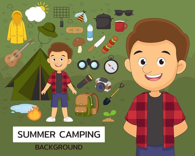 여름 캠핑 개념 평면 아이콘