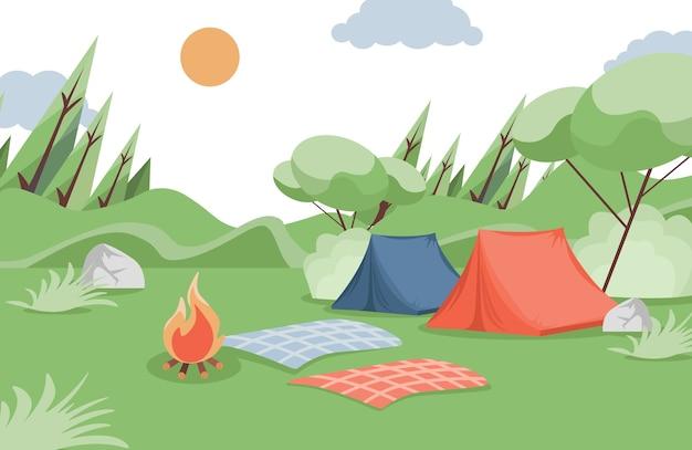 여름 캠핑 평면 그림입니다. 숲의 숲 사이에 캠핑 텐트, 담요, 모닥불.