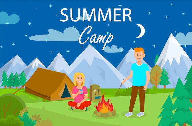 Summer camping in forest cartoon illustration.