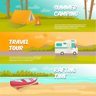 Summer camping horizontal banners set