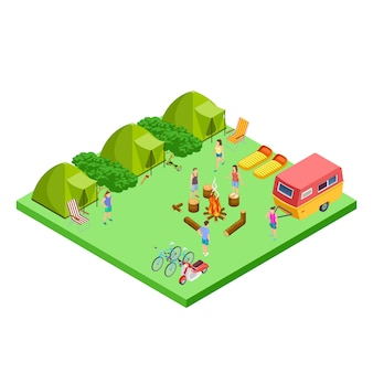 Summer camping isometric with van and tents  location