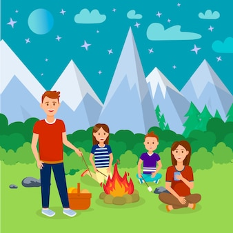 Summer camping in mountains cartoon illustration.