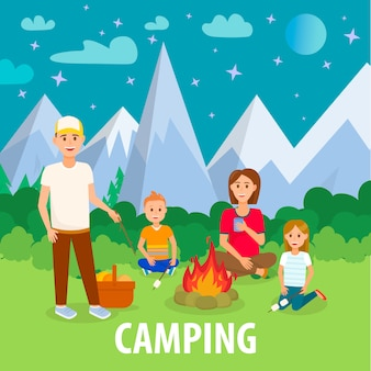 Summer camping in mountains flat drawing with text